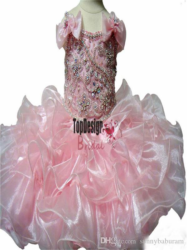 Wholesale New 2017 Princess Crystal Girls Cute Pageant Cupcake Dresses Infant Special Occasion Skirts Toddler Tutu Prom Party Pageant Gowns