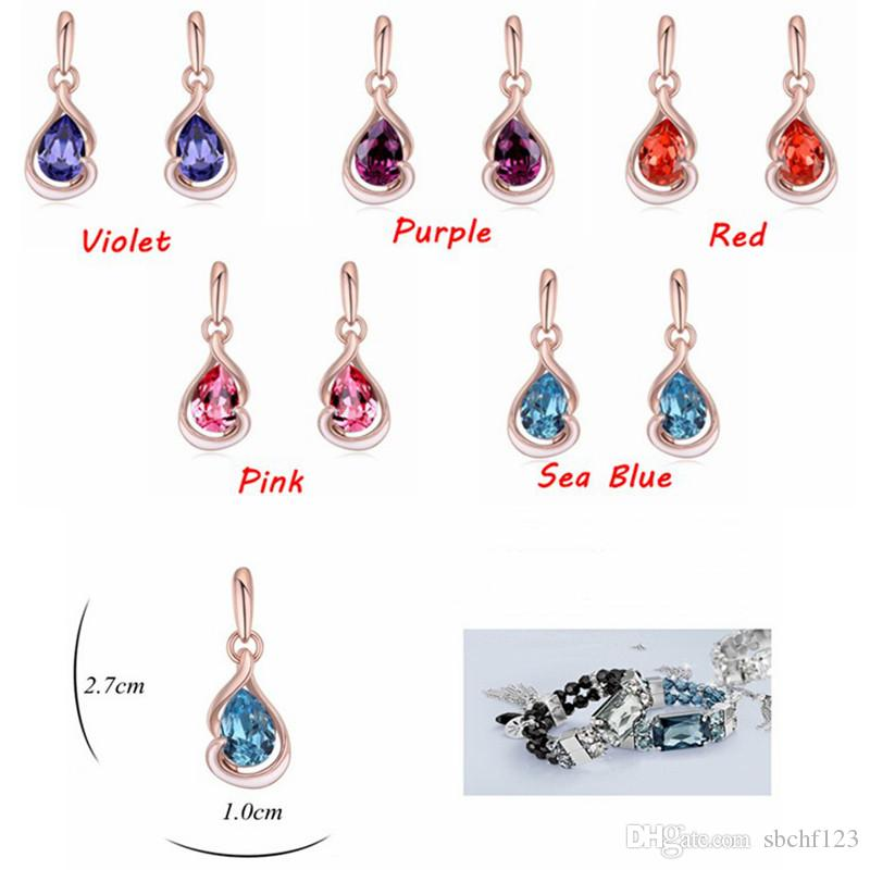 Water Drop Dangle Earrings For Women Fashion Rhinestone Party Jewelry Crystal from Swarovski Rose Gold Plated 21725