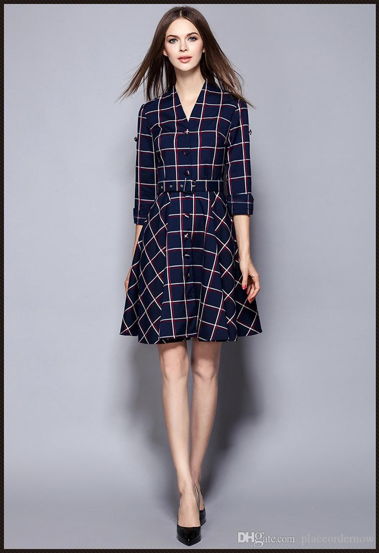 Mulheres Vestido De Xadrez 2016 Novo Outono Inverno Vestido Com Decote Em V Manga Longa Comutador OL Sashes Magro Trabalho Um Vestidos