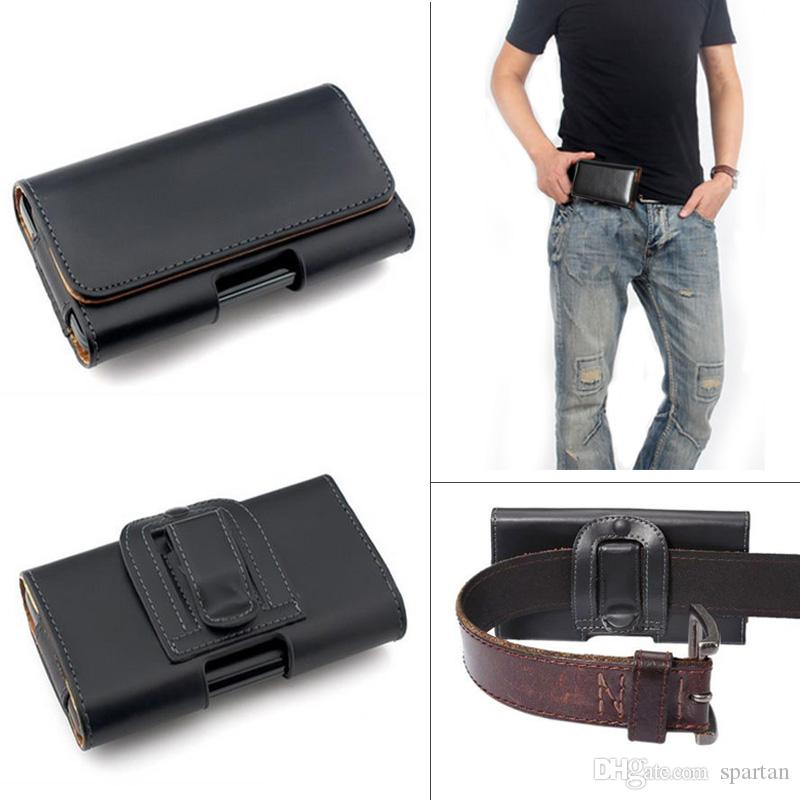 best website b7b4c 89679 Leather Waist Hang Case Mobile Phone Cover Belt Holster Clip Pouch Sleeve  for 4.5 5.5 5 inch all Cell Phone