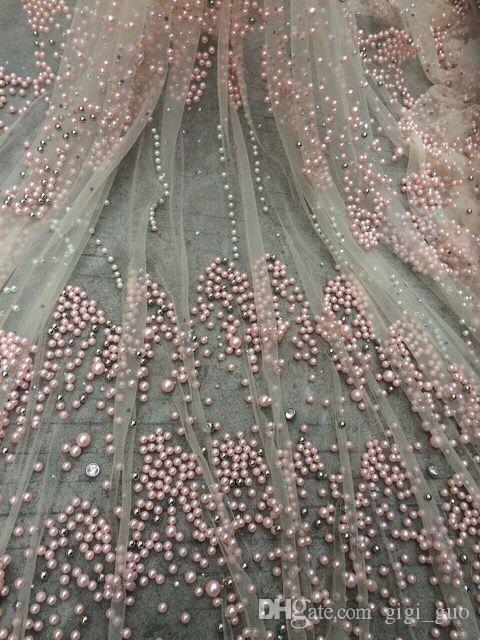Embroidery Design African Net Lace Fabric Beads Pearls High Quality