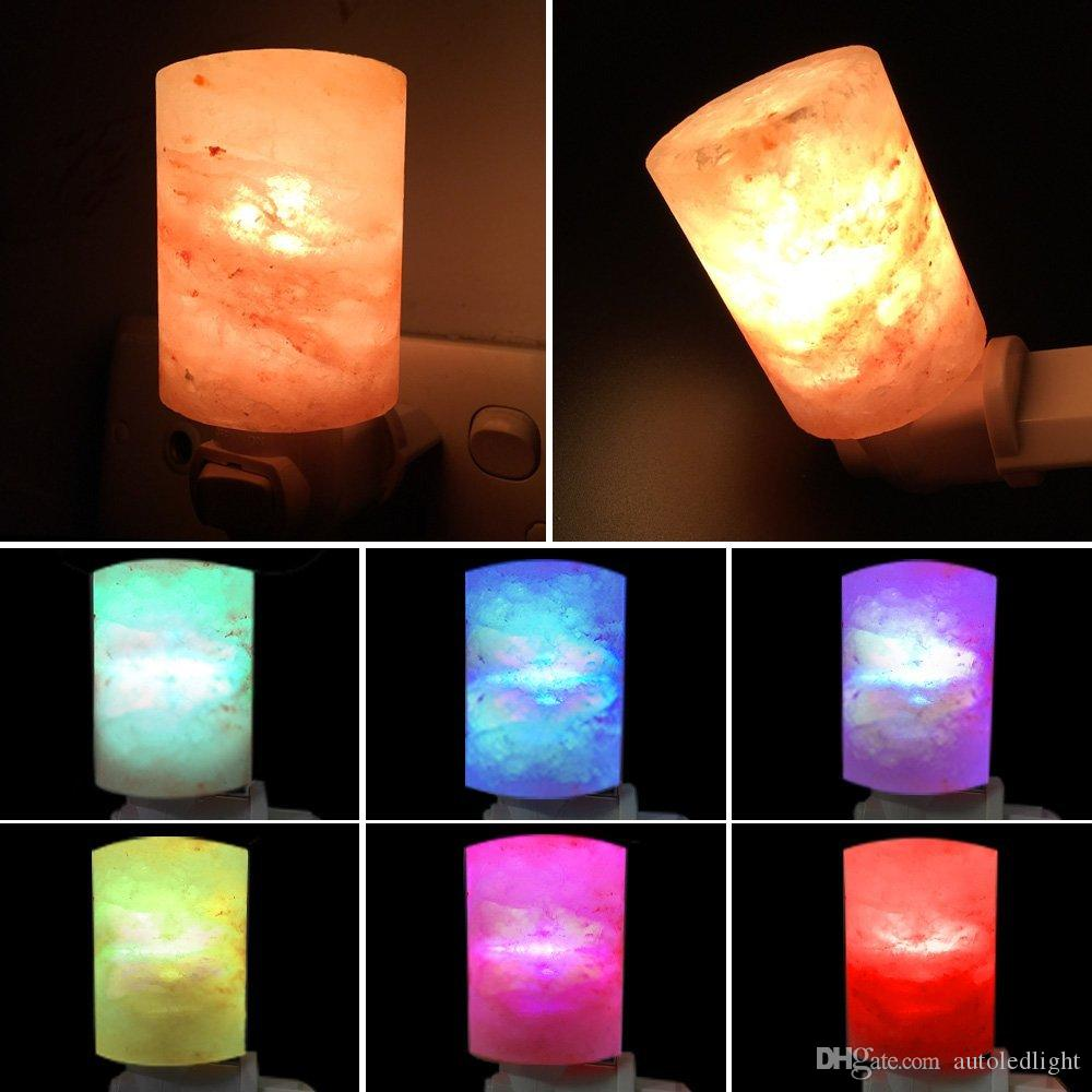 Lamps with night light - 2018 Natural Himalayan Salt Led Night Light Decorative Air Purifier Wall Lamps Cylinder Light Nursery Lamp Natural Crystal Lamp From Autoledlight