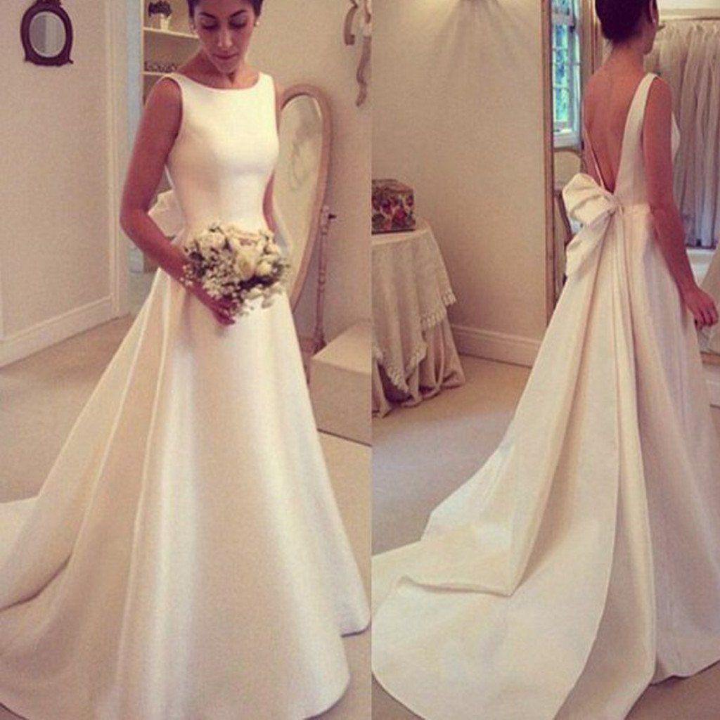 Discount 2017 Elegant A Line Simple Wedding Dresses Open Back ...