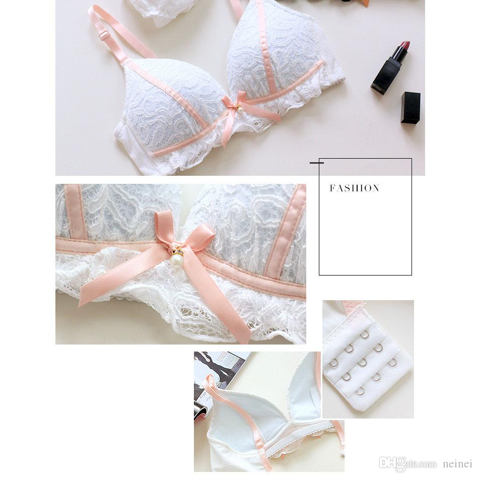 2f61c7bcc50a 2019 Young Ladies Lace Bra And Panty Fashion Thin Cotton Cup Comfortable  Sleepwear Underwear Sexy Bowknot Wire Free Bras Sets From Neinei, $10.66 |  DHgate.