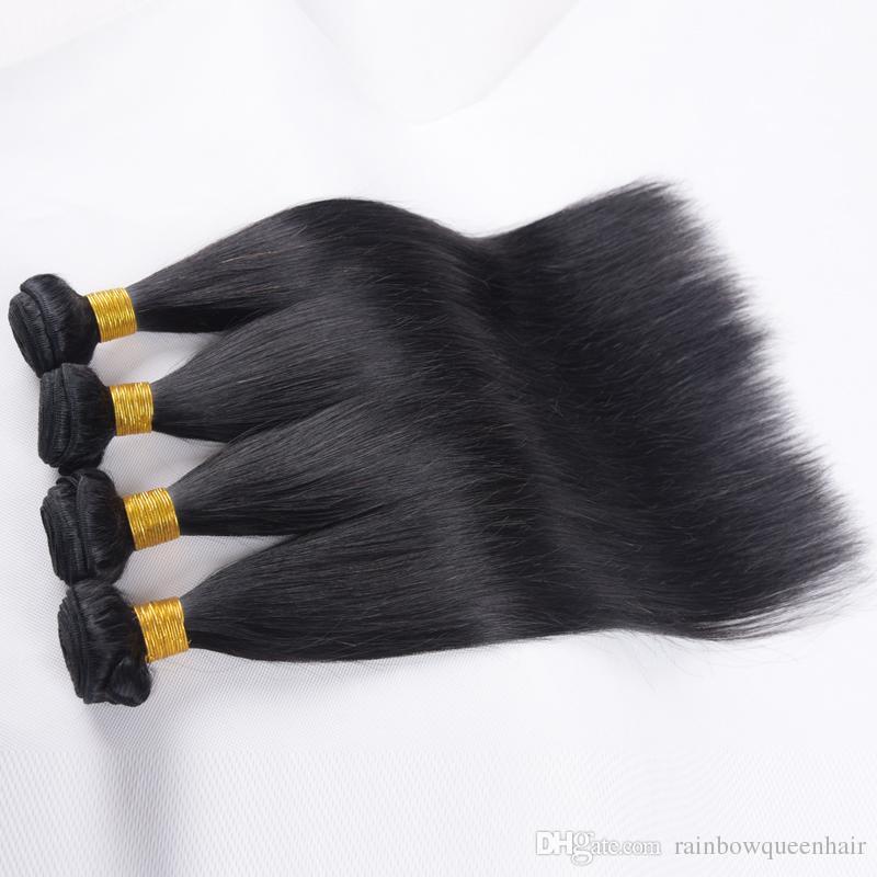 Cabelo virgem brasileiro cabelo humano em linha reta 7A grau não processado misturado 8-26 polegada 4 pacotes / lote barato brasileiro virgem extensões de cabelo humano