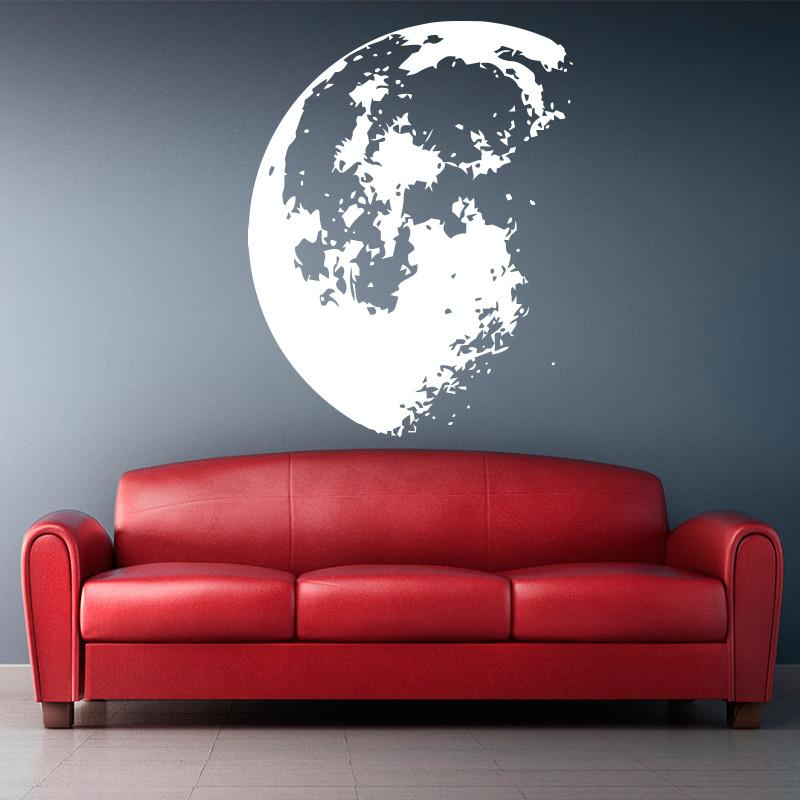 new design outer space moon wall sticker home decor modern vinyl