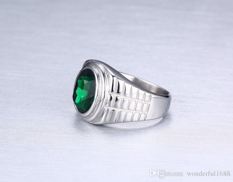 Bague en titane plaqué or 18 carats pour hommes de qualité rouge noir vert cristal anneau de rubis en acier inoxydable bande de mariage mâle anneau de pierre