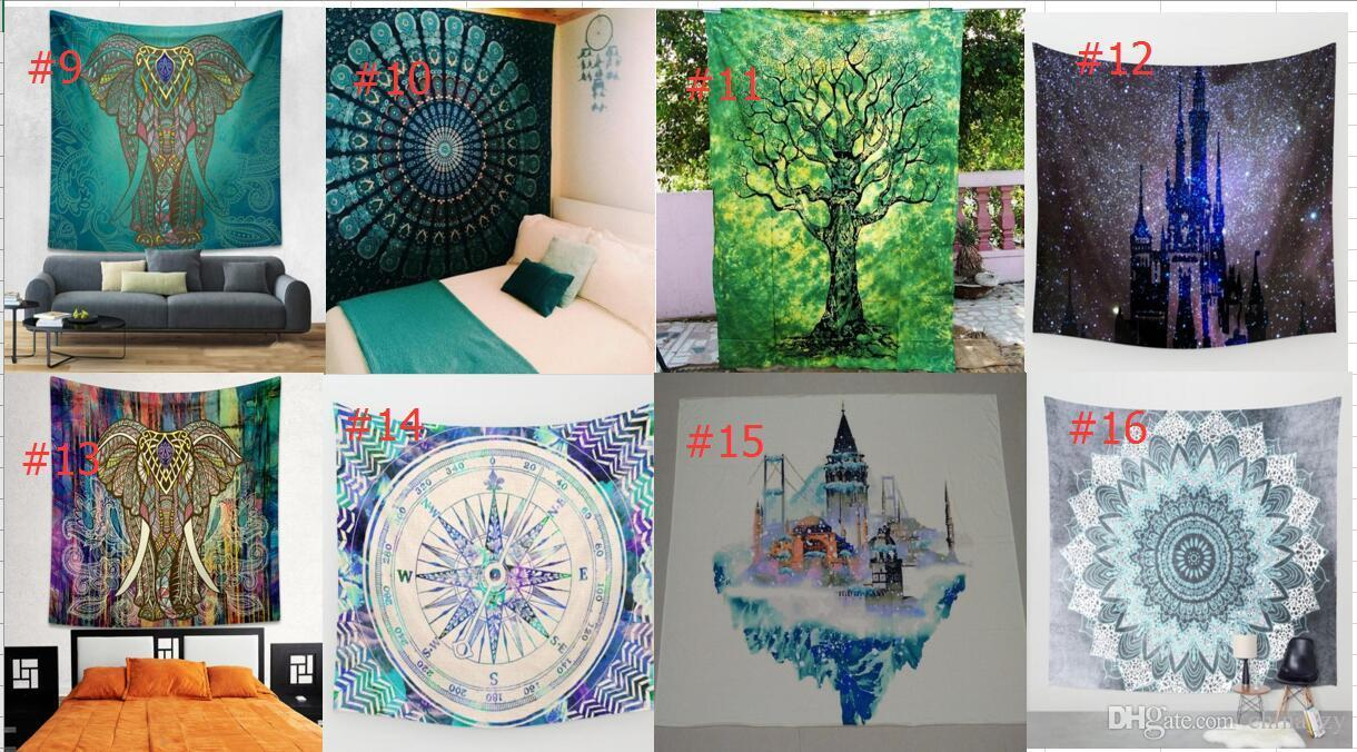 2017 Hippy Mandala Tapestry Bohemian Elephant Wall Hanging Psychedelic Wall  Art Dorm Decor Beach Throw Indian Wall Tapestries 32 Styles Bohemian Wall  ...