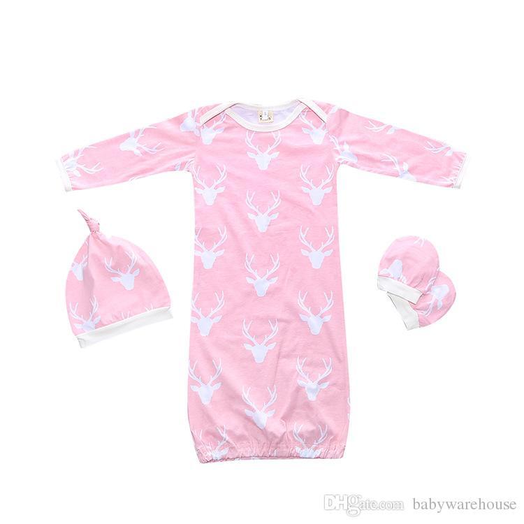 Noel Uyku Tulumu için Bebek Kundak Uyku Çuval Ile Eşleşen Şapka Eldiven Ile 3 ADET Pijama Çocuklar Giyim Kış Giysileri Erkek Kız için Set
