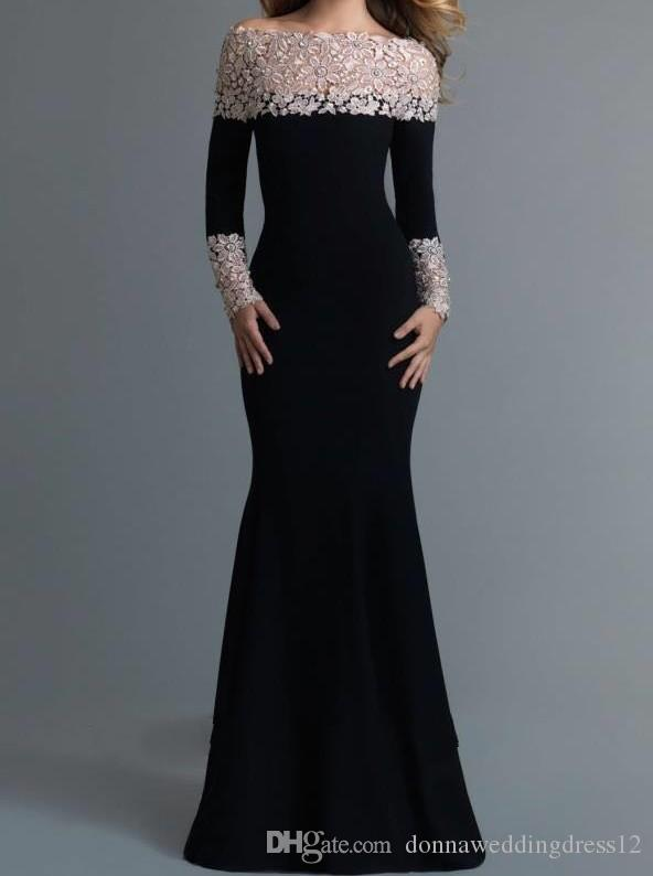 Elegant Black Long Sleeve Lace Mermaid Evening Dress 2017 Boat Neck Satin Formal Gowns Custom Made Prom Dresses