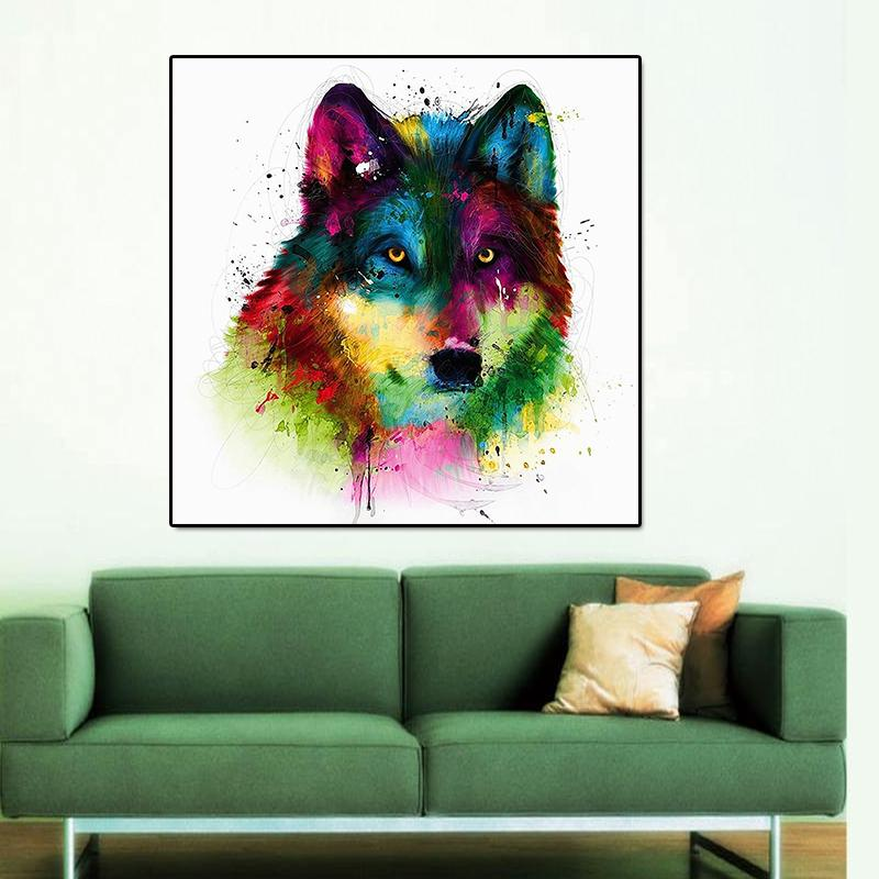 2018 Unframed Modern Abstract Oil Painting Colorful Wolf Head Huge