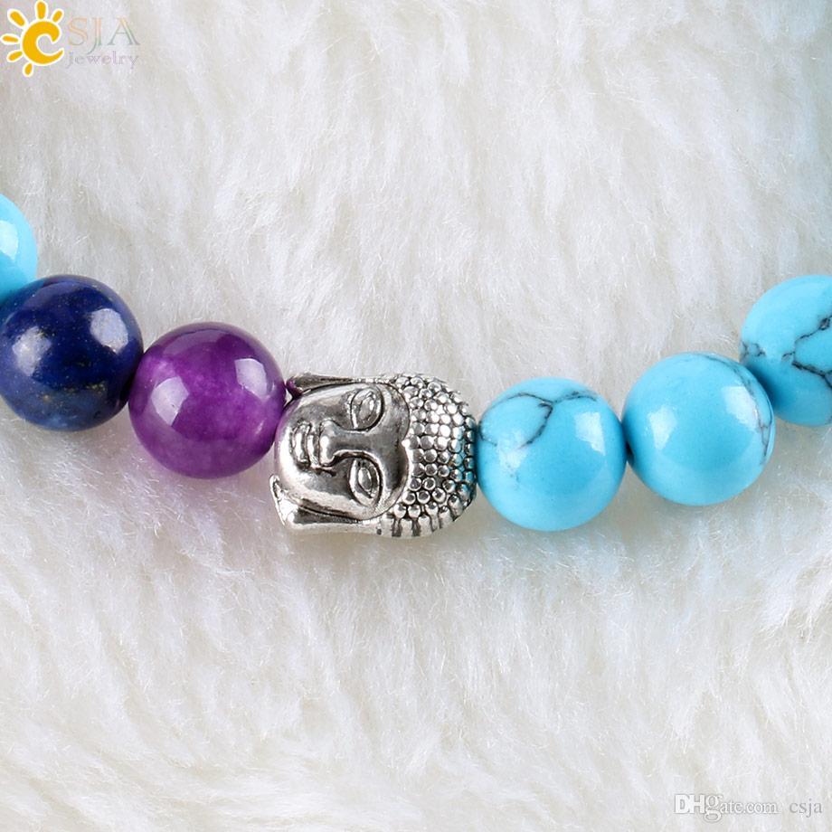 CSJA 7 Chakra Handmade Bracelet Meditation 8mm Blue Turquoise Round Rainbow Stone Beads for Women Buddha Strand Bracelets Wholesale E331