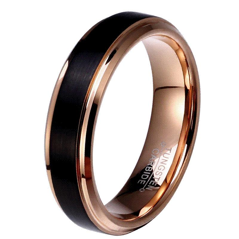 8mm/6mm/4mm Black &Amp; Rose Gold Plate Tungsten Carbide Wedding ...