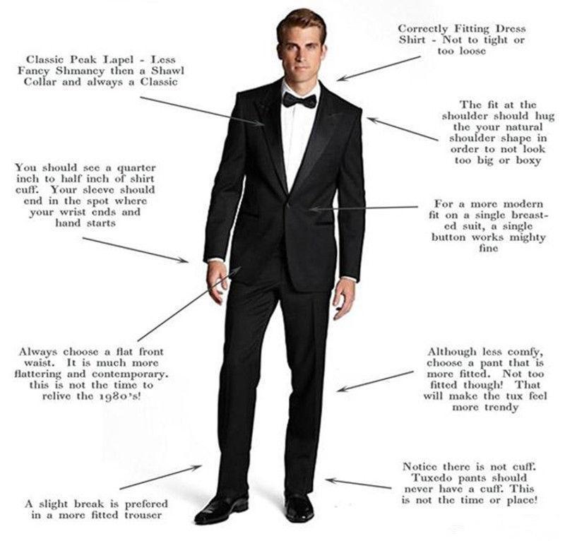 Dark Navy hommes Les costumes de mariage Slim Fit One Button Deux garçons d'honneur Smokings Pièces Beau Costume de mariage veste + pantalon