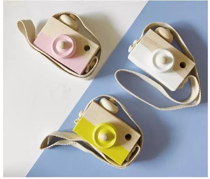 8 цветов мини-деревянная камера игрушка висит на шее антистатические и натурального дерева для детей ребенок малыш украшения комнаты