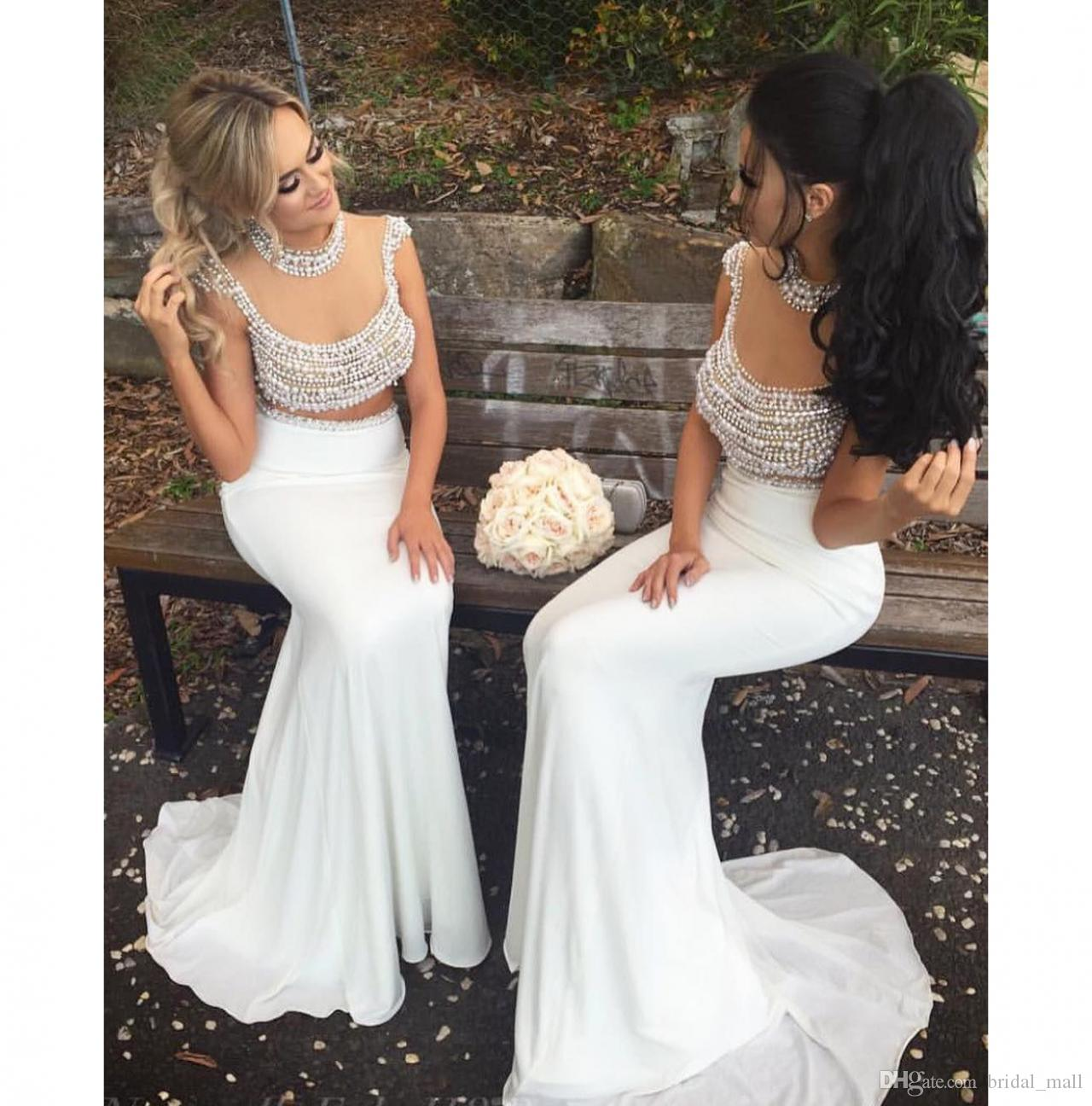 Trendy two pieces bridesmaid dresses high neck mermaid prom dress trendy two pieces bridesmaid dresses high neck mermaid prom dress pearls long maid of honor dress party gown girls bridesmaid dress gorgeous bridesmaid ombrellifo Gallery