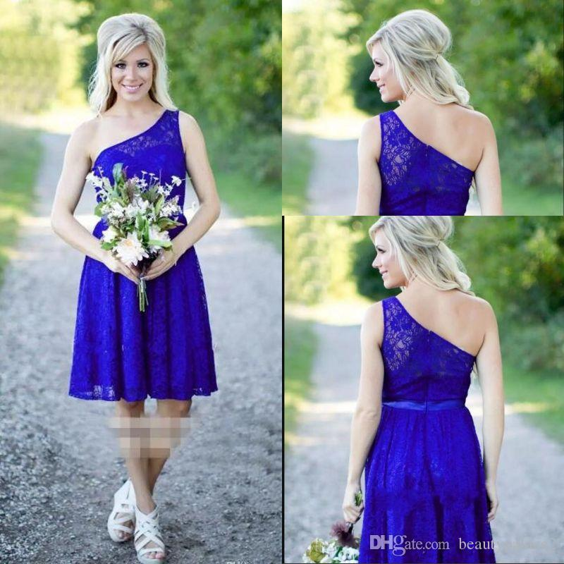 Cheap Royal Blue Lace Short Bridesmaid Dresses One Shoulder Sexy Country Bridesmaids  Dress Wedding Guest Party Gowns Magenta Bridesmaid Dresses Maternity ... 2791d8f8200a