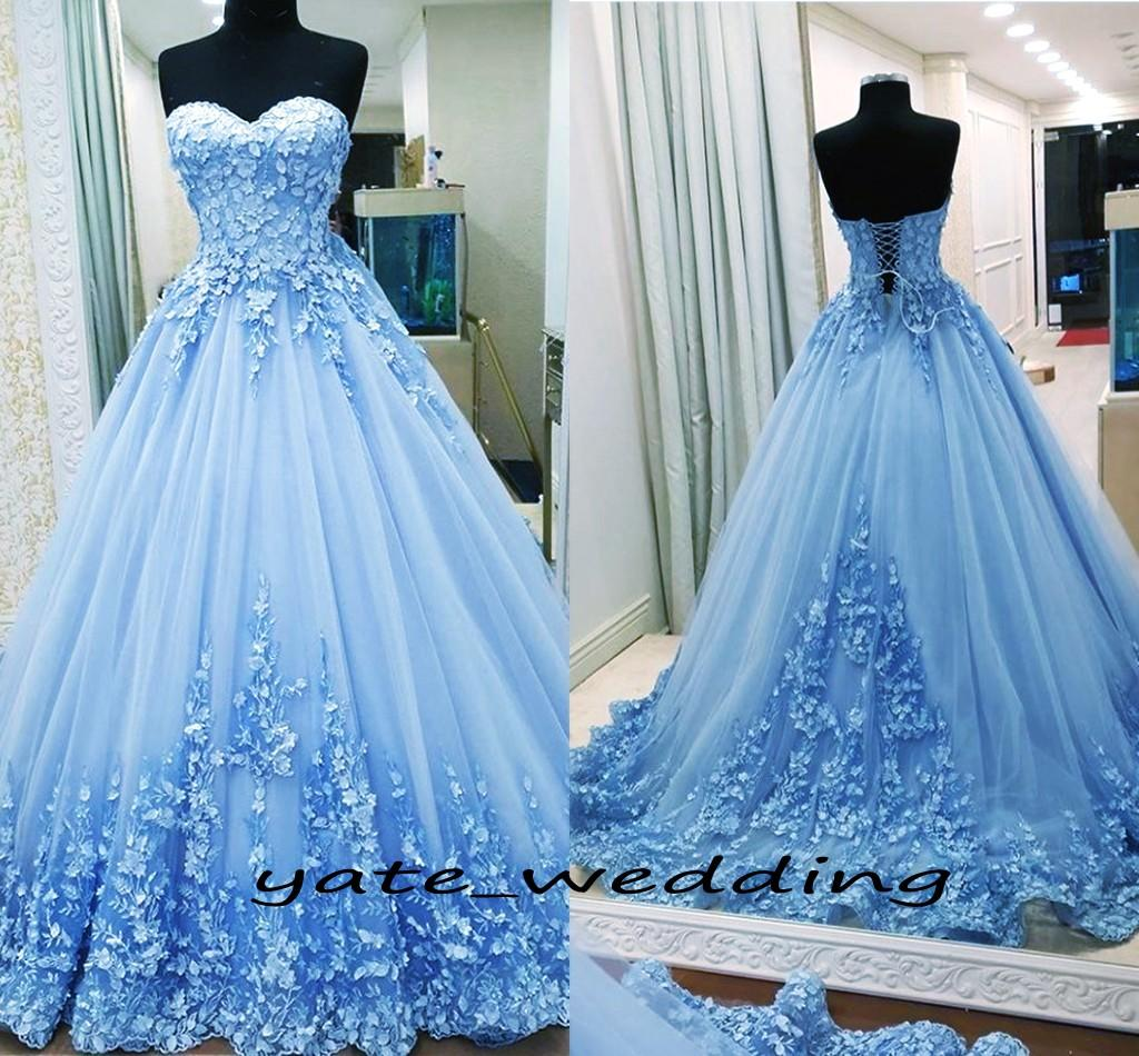 1754404af3 2018 Ball Gown Prom Dresses Sweetheart Appliques Tulle Backless Bandage Light  Blue Evening Gowns Quinceanera Dresses Sweet 16 Dresses Lulu Prom Dresses  ...