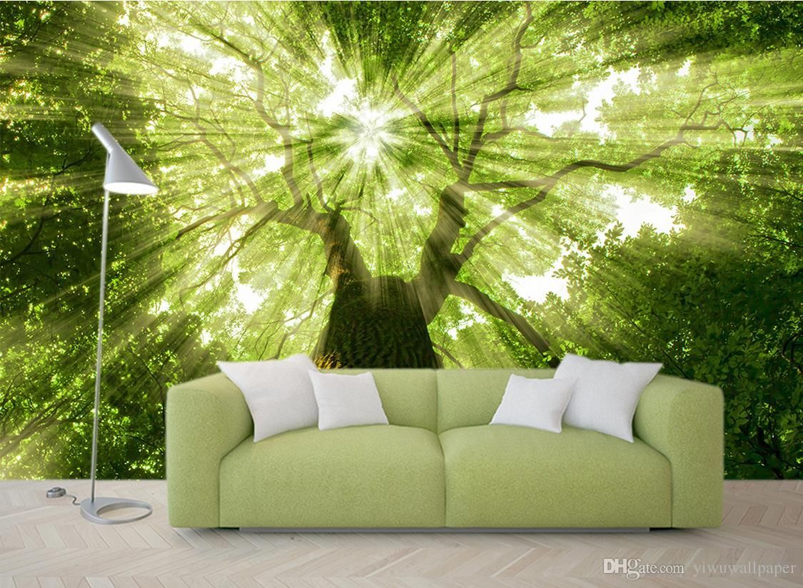 trees forest trees light green background walls mural 3d wallpaper see larger image
