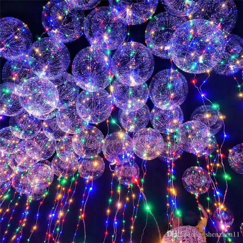Lumineux Led Transparent 3 Mètres Ballon Clignotant Décorations De Fête De Mariage Fournitures de Vacances Couleur Lumineux Ballons OTH103