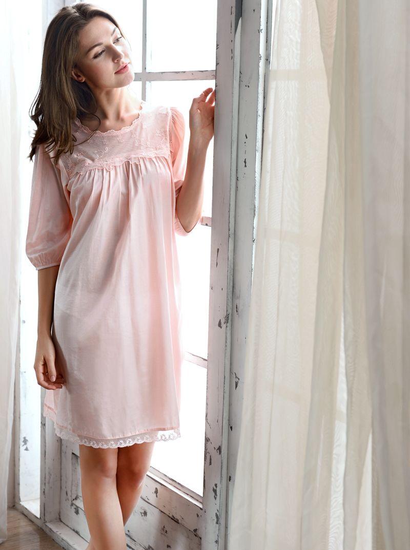 2017 New Women Nightgowns Summer Female Nightdress Sleepwear Elegant Lace  Silk Cotton Lounge Set Princess Nightwear 1002 Canada 2019 From Magic1998 0e0ebb278