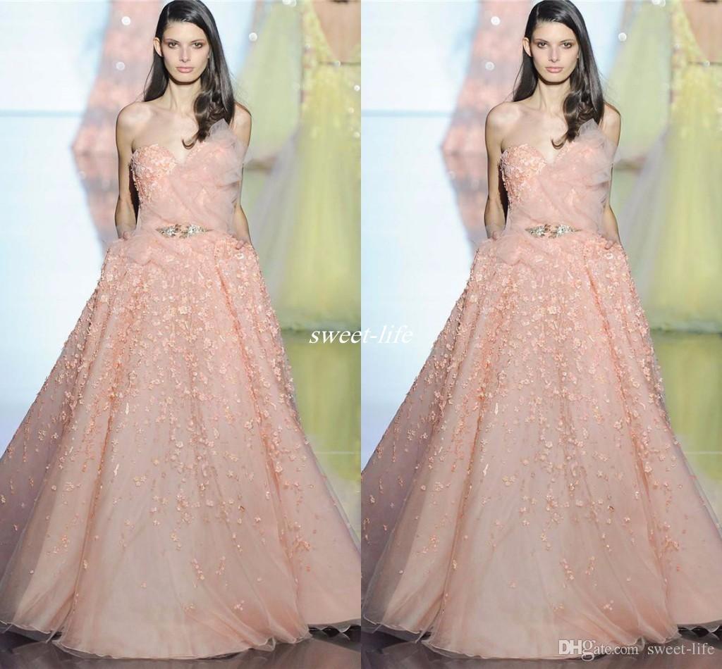 Zuhair Murad Blush Long Evening Dresses Ball Gown Sweetheart With ...