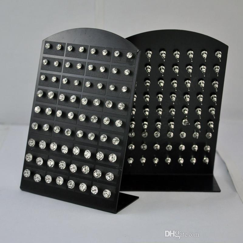 72 adet 1 Takım Moda Sıcak Rhinestone Zirkonya Paslanmaz Çelik Kadınlar için Damızlık Küpe Ekran Panoları Toptan Takı LR285 Ücretsiz Kargo