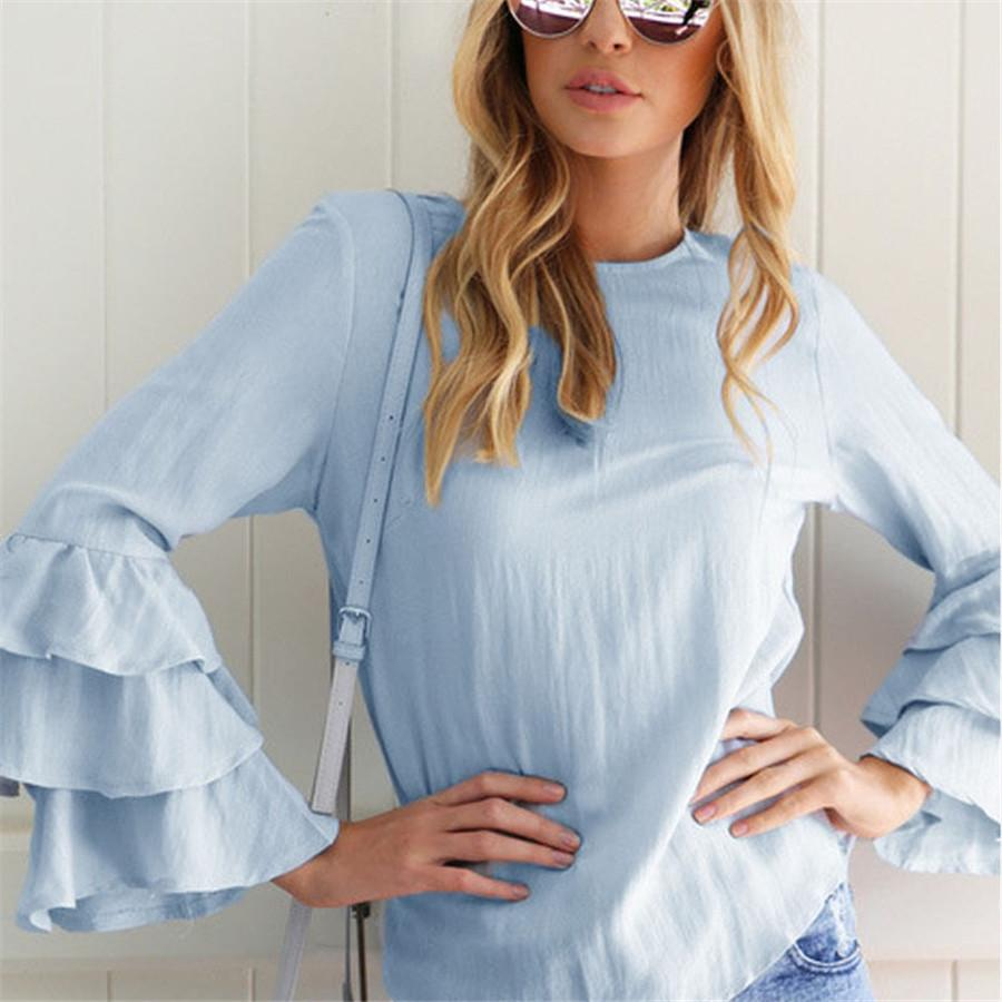 359c79bed76 2019 Hot Fashion Female Elegant Rutterfly Sleeve Light Blue Blouses Round  Collar Shirt Ladies Tops School Blouse Women Plus Size From Kasailo