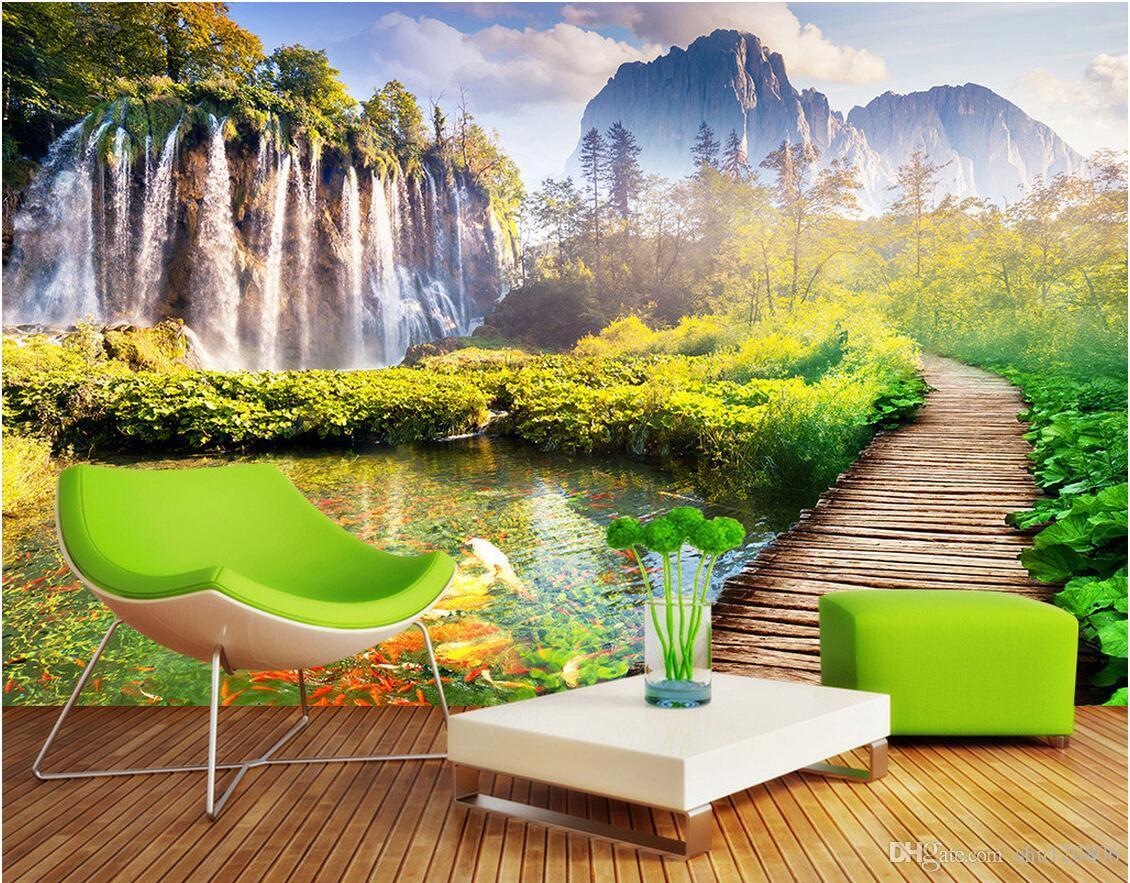 Custom 3d Nature Mural Wallpaper Nature Scenery For Walls: 3d Wallpaper Custom Photo Mural Mountain Bridge Scenery