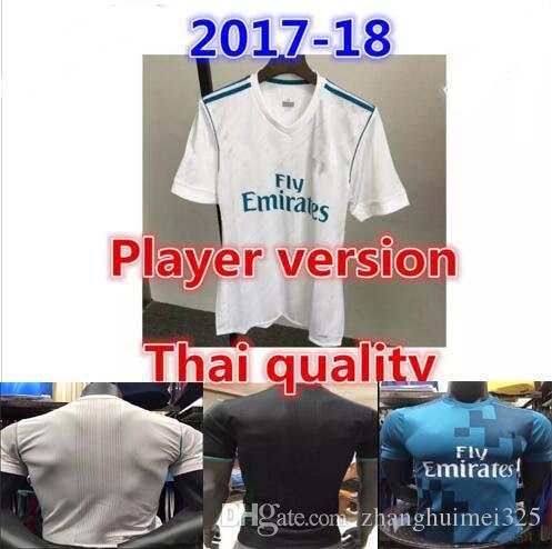 ea0d9d5ff8093 Aaa + 2017 2018 Player Version Real Madrid Camiseta De Fútbol 17 18 Benzema  Ronaldo Fútbol Modric Kroos Sergio Ramos Bale James Negro Camisas Por ...