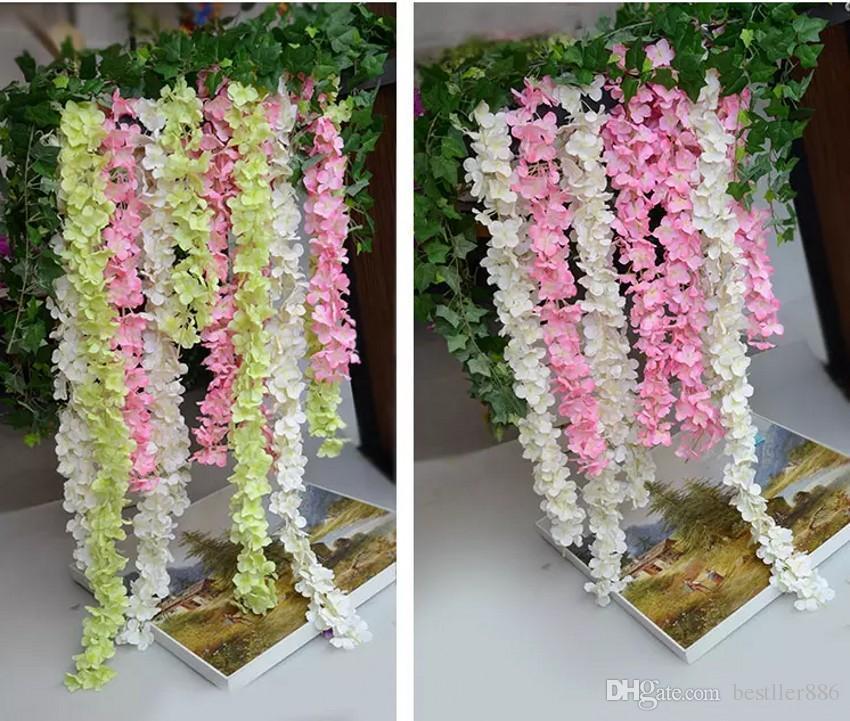 "80"" 2 Meter"" Super Long Artificial Silk Flower Hydrangea Wisteria Garland For Garden Home Wedding Decoration Supplies Available"