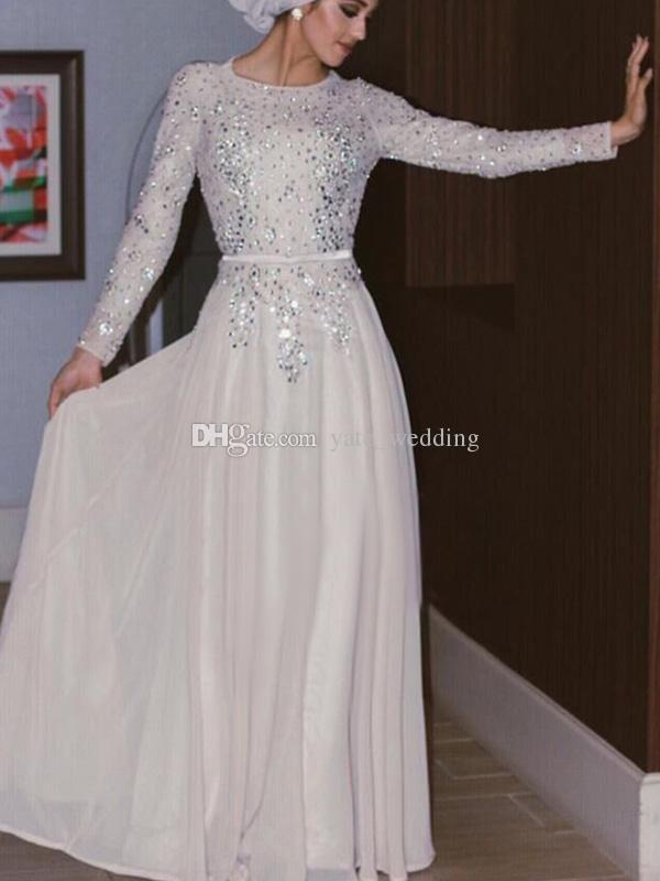 Maniche lunghe Abiti da sera musulmani Paillettes argento Perline di cristallo Chiffon Lunghezza del pavimento Shinning Arabo Abaya Abiti da ballo bianchi con fascia