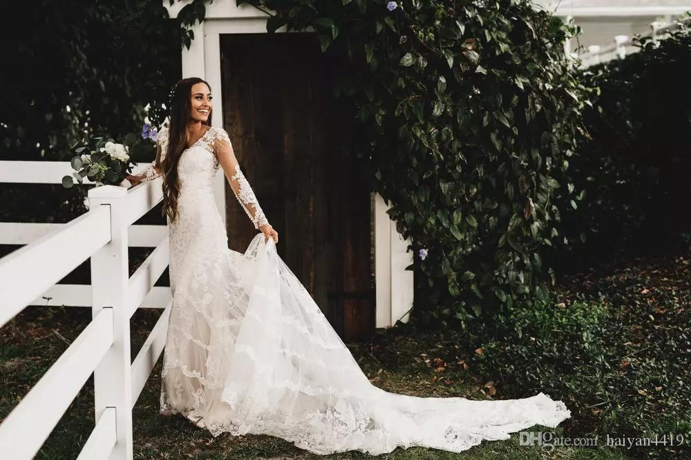 2017 Vintage Wedding Dresses Country Beach Full Lace Appliques Illusion Sheer Long Sleeves Backless Court Train Garden Bohemian Bridal Gowns