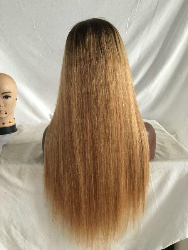 1b 27 Ombre brasilianische gerade Spitze-Frontmenschenhaar-Perücken Honey Blonde Remy 13x4 Spitze Frontal Ombre Menschenhaar-Perücke für Frauen