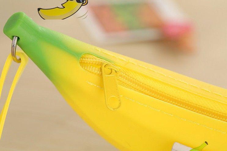 남자 여자 여자 귀여운 사랑스러운 실리콘 바나나 동전 동전 지갑 제로 돈 연필 펜 케이스 가방 지갑 파우치