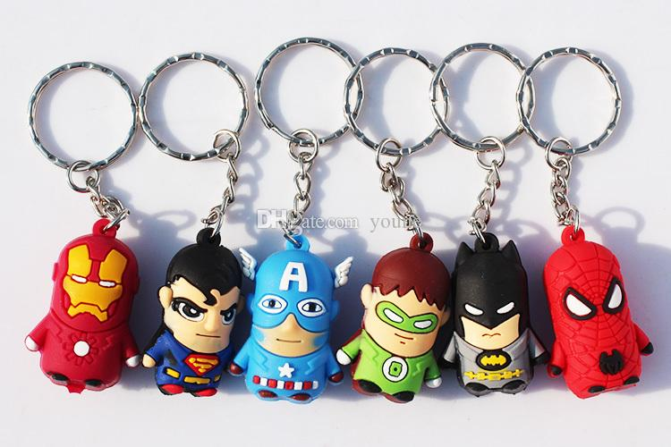 The avengers Iron Man keychain Pendant cellphone strap Captain America Spider Man Superman Batman Figures