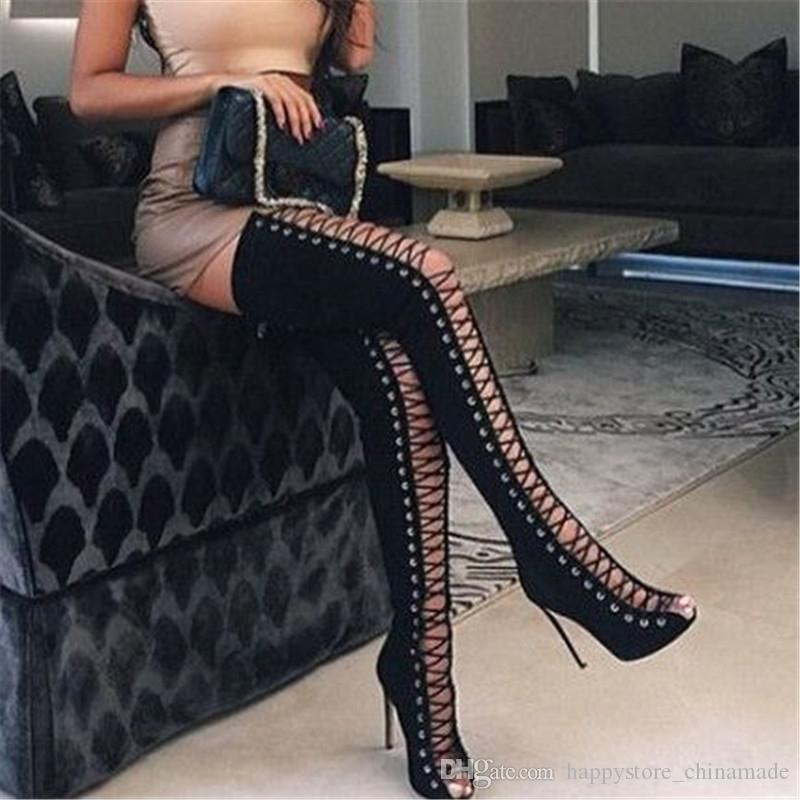 b1cb83061f 2017 Spring Sexy Girl Gladiator Black PU Faux Suede Lace Up Strappy Peep  Toe Thigh High Boots Women High Heels Shoes Sandals Womens Sandals Sandals  For Men ...