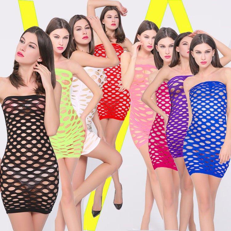 Women Erotic Porn Sexy Lingerie Hot Fishnet Open Crotch Lingerie Female Mini Dress Nightwear Nightdress Costumes Body Stocking
