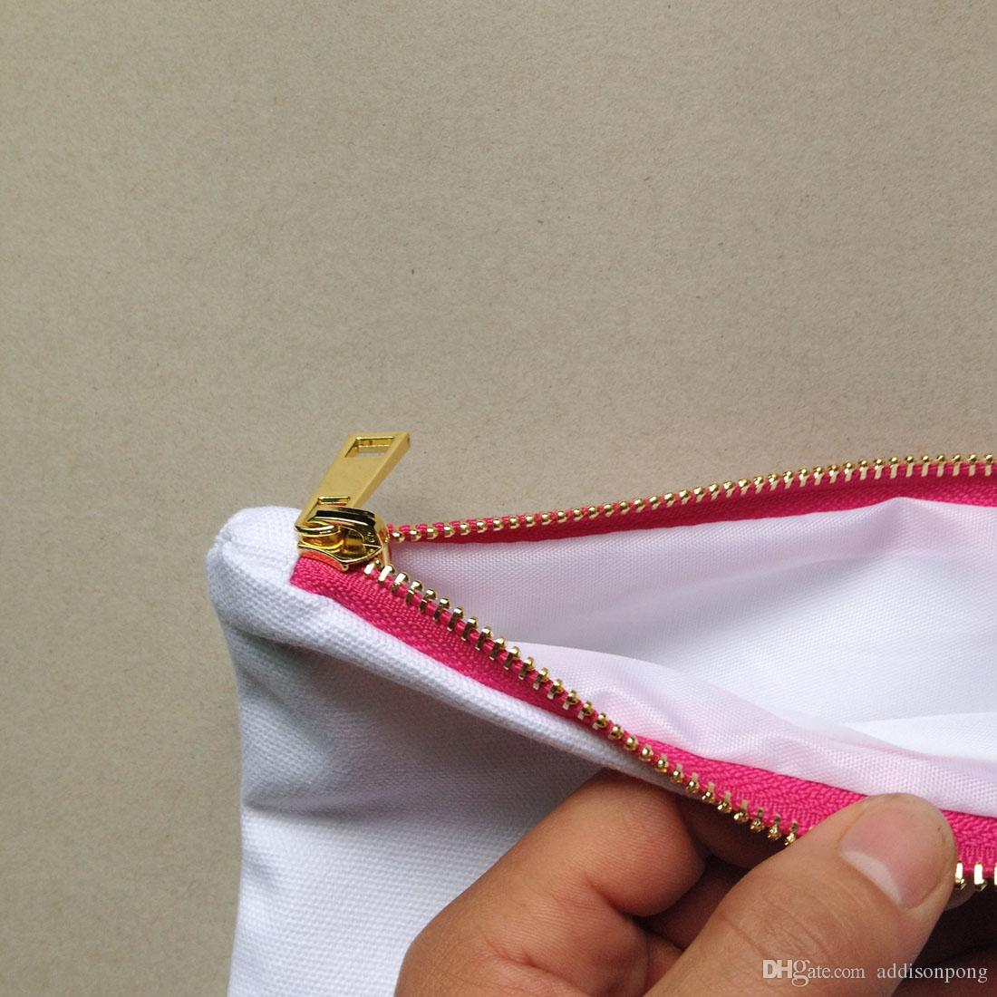 pianura tela di cotone vuote compongono il sacchetto con rivestimento superiore zip oro qualità 7x10in sacchetto di colore toilette solida vernice di DIY / stampa in bianco / bianco / avorio