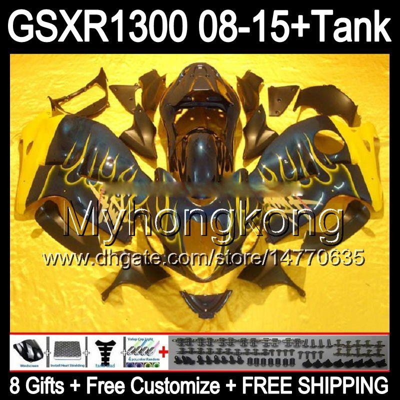 8gifts SUZUKI Hayabusa GSXR1300 08 15 GSXR-1300 fiamme gialle 14MY94 GSXR 1300 GSX R1300 08 09 10 11 12 13 14 15 Carenatura nero lucido Kit
