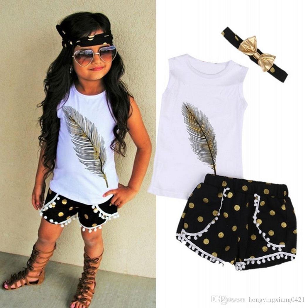 3pcs Set Toddler Kids Baby Girl Floral Clothes Feather print Vest Tops T-shirts + Tassels Dot Lace Shorts Pants+Gold Bow Headband Outfits