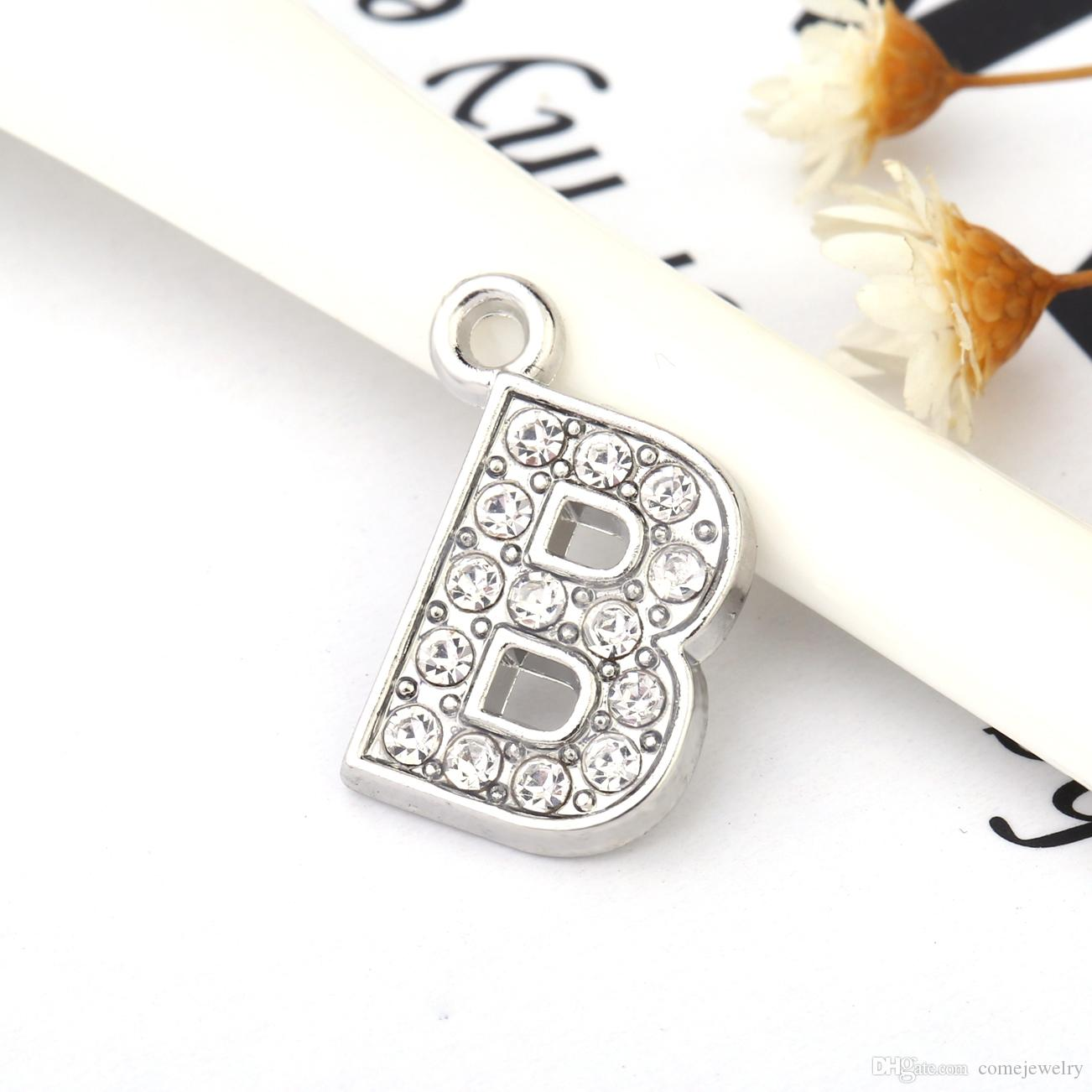 B Crystal Letter Heart Floating Charm For Glass Living Memory