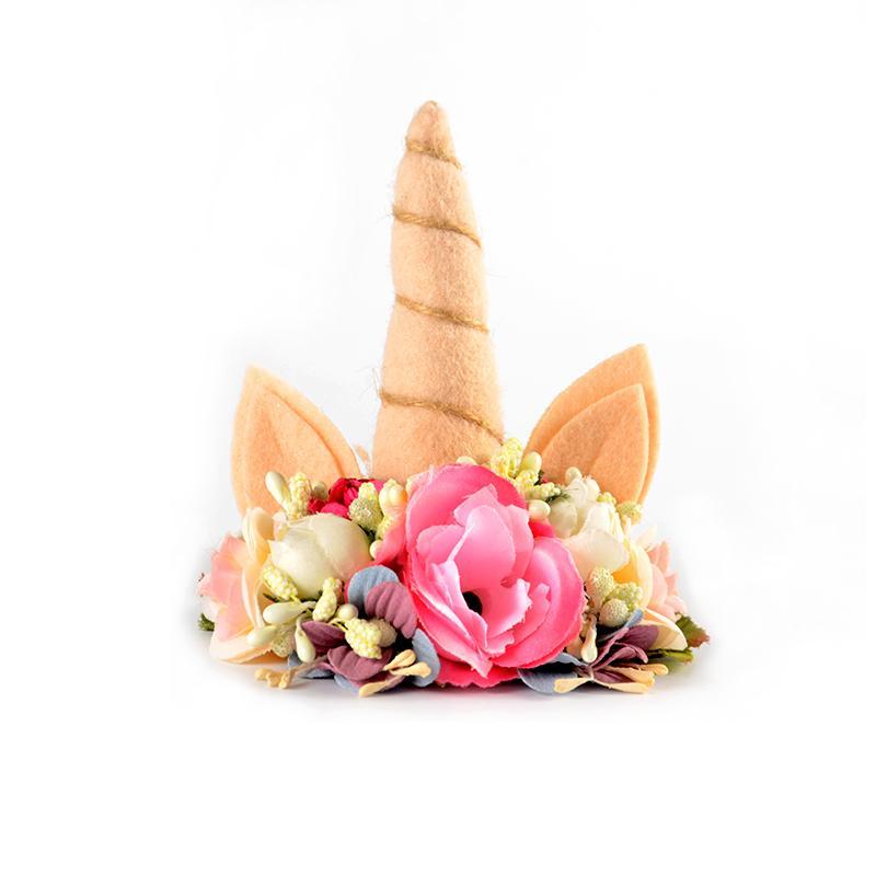 Felt Floral Crown Unicorn Horn Hairband Birthday Unicorn Hair Accessory Photo Prop Baby Headband Hot Sale