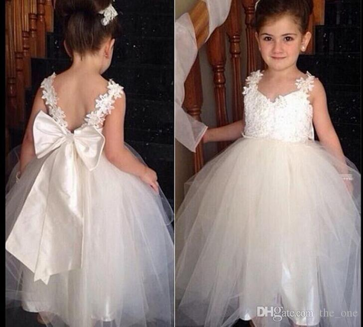 2019 White Spaghetti Straps Princess Flower Girl Dress For Weddings Girls  Party Pageant Dress With Big Bow For Baby Girls From The one e4cc6f4fc817