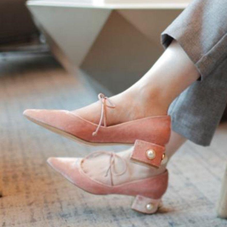 Talon Livraison Pointues Velours Perlé Lacets Gratuite Lanières Ballerines Diamant Chaussures 0wPkOn8X