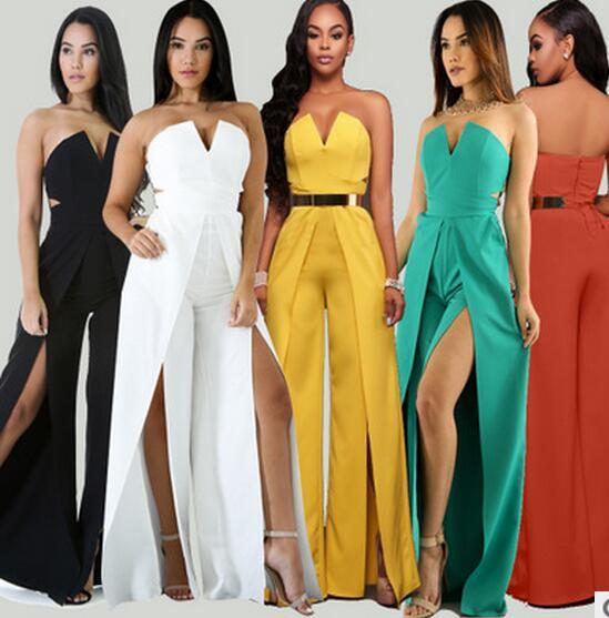 7c401984bed6 2019 2017 New Women Bandage Jumpsuit Fashion Deep V Solid Color Party Rompers  Ladies Strapless Club Wear Full Length Playsuits Casual Bodysuits From ...