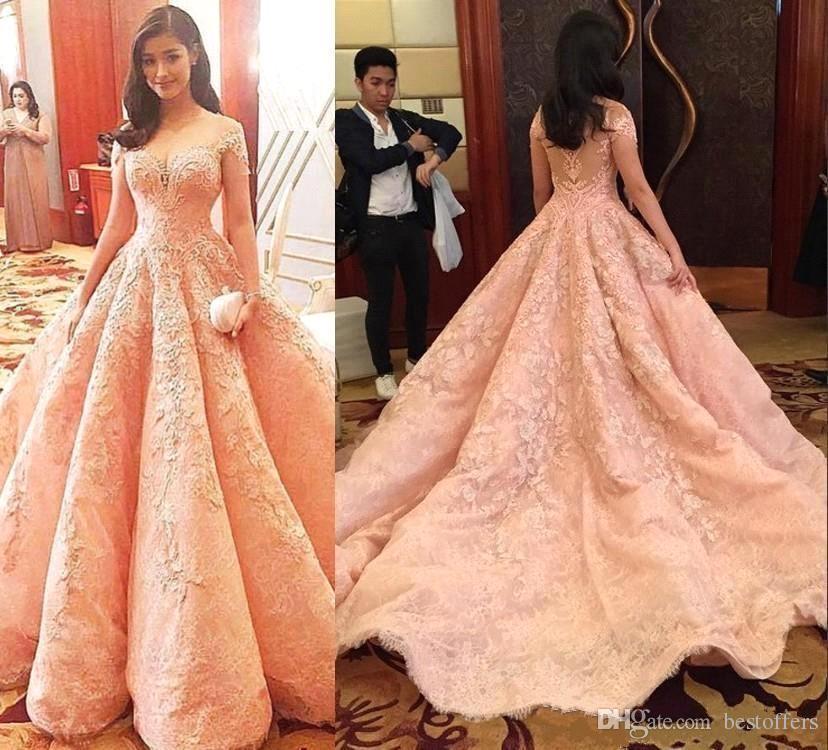 Luxury Pink Prom Dresses 2019 Cap Sleeve with Lace Appliques Arabic Dubai Vestido de fiesta A Line Delicate Long Formal Evening Gowns BA6255