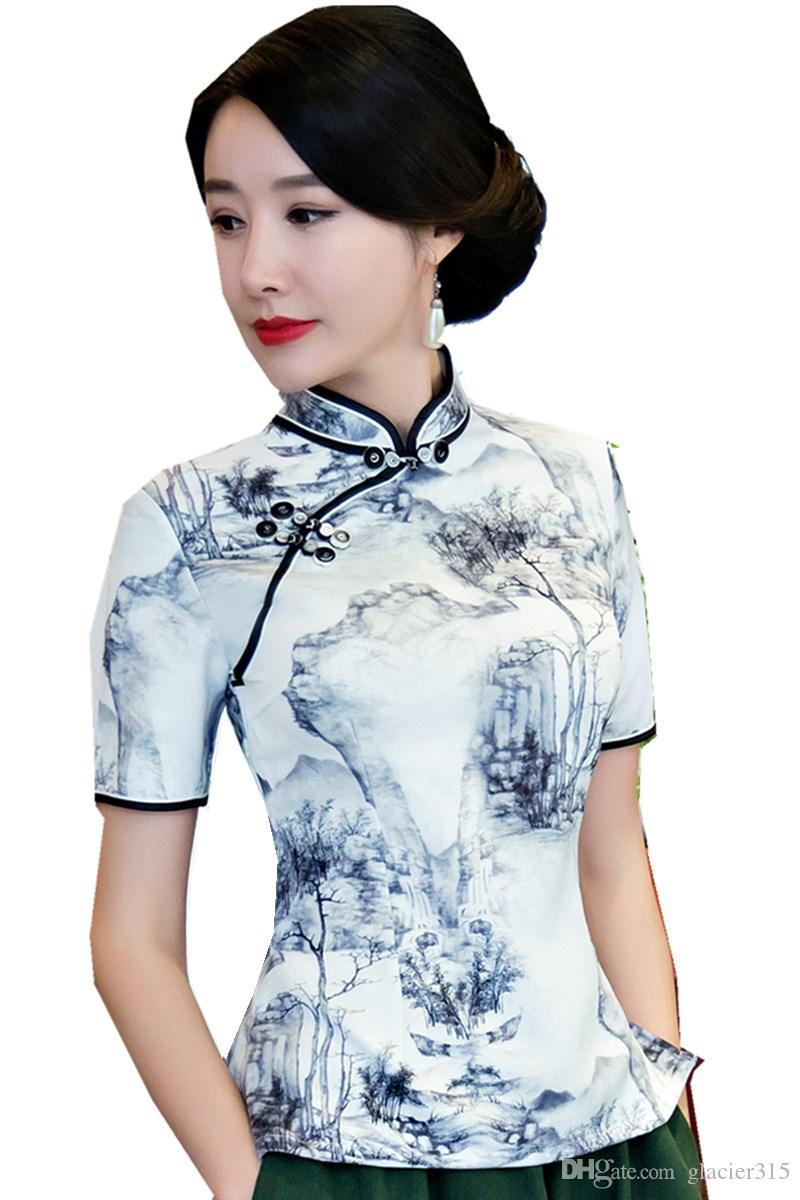 Shanghai Story Short Sleeve Chinese cheongsam top traditional Chinese Top Women's Vintage blouse top for Woman