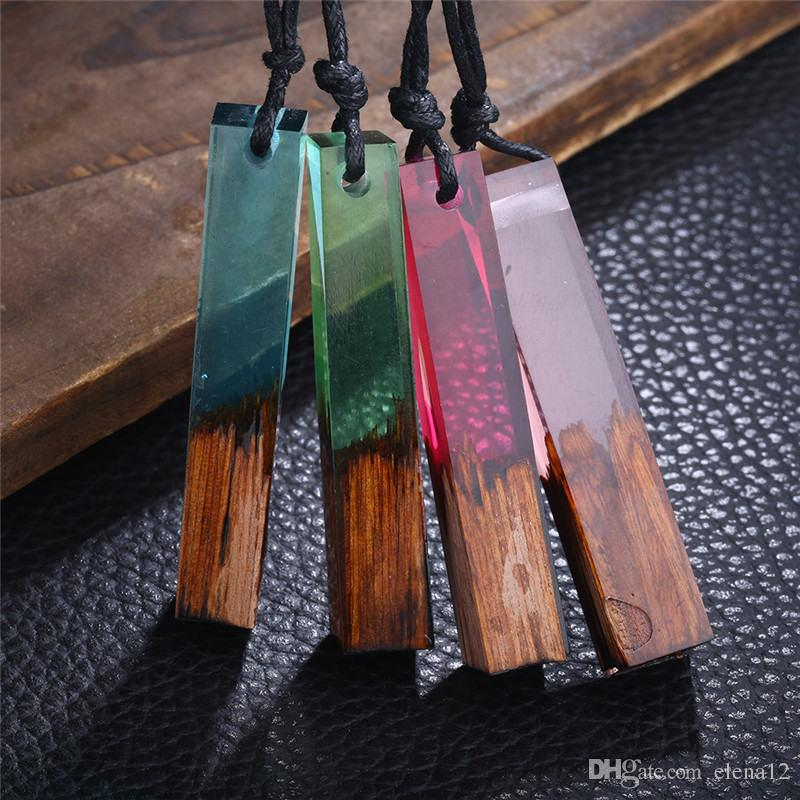 Moda Donna Uomo Collana Gioielli fatti a mano Collane in legno di resina vintage Pendenti Corda lunga Collana in legno Gioielli 162503