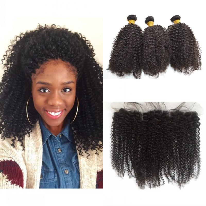 Afro Kinky Curly Weave With Closure Unprocessed Brazilian Hair Natural Color Lace Frontal Closure With 3 Bundles G Easy